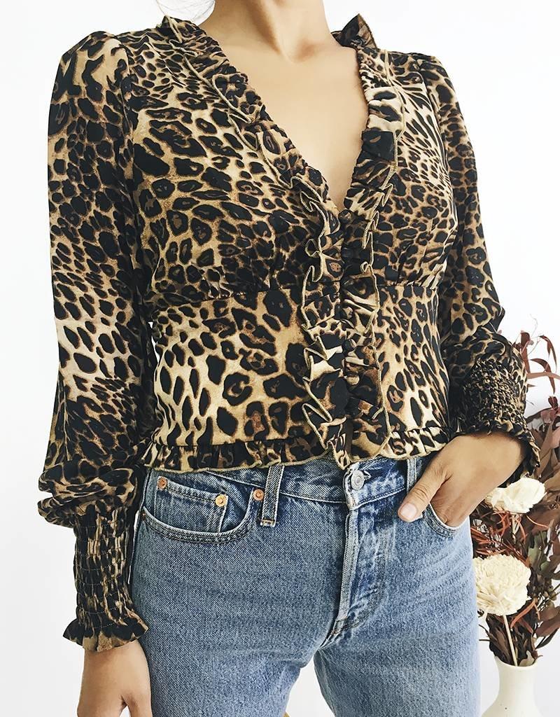 Blouse courte à imprimé léopard