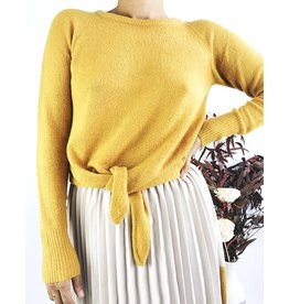 Soft Sweater With Knot Detail - Mustard