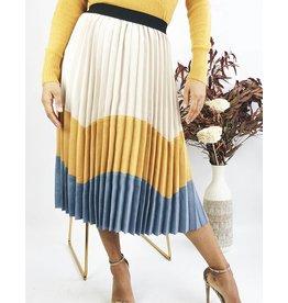 Jupe plissée mi-longue à contraste de couleurs