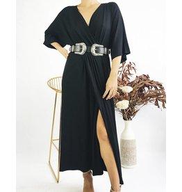 Longue robe portefeuille à manches kimono