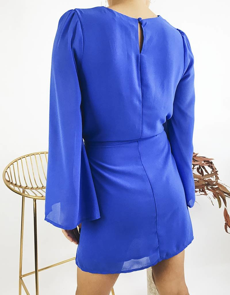 Electric Blue Bell Sleeved Dress
