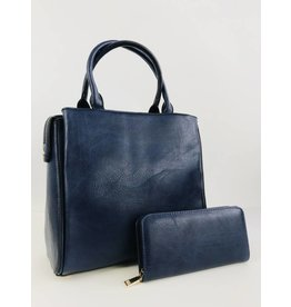 Faux Leather 2 in 1 Square Tote Bag