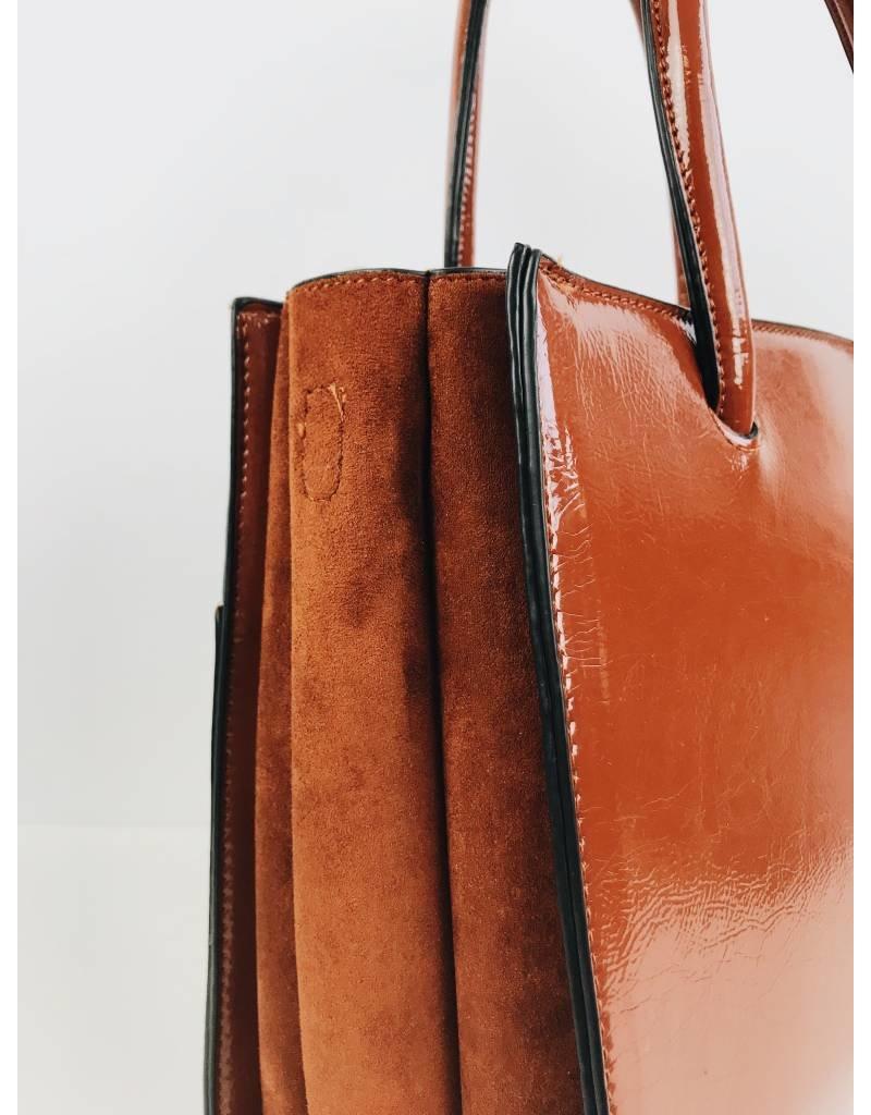 Patent Finish Square Tote Bag