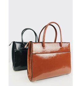 Patent Finish Square Tote Bag