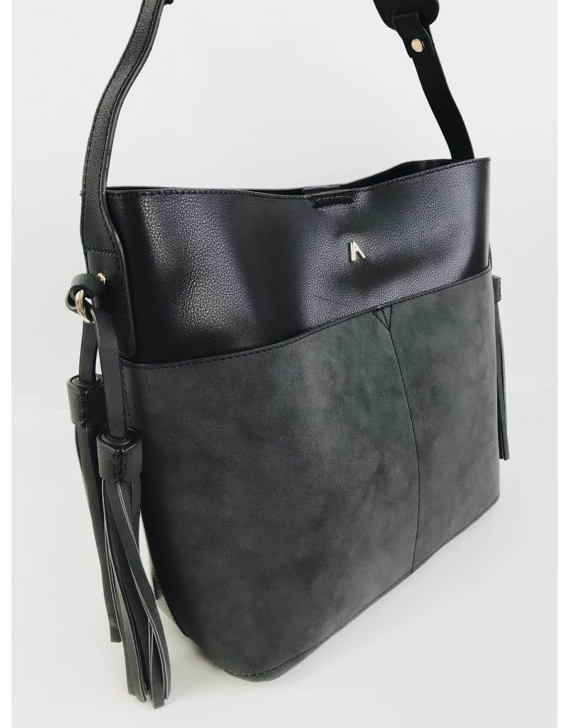Faux Leather and Suede Mix Tote Bag