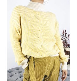 Turtleneck Knit Sweater White Ribbing