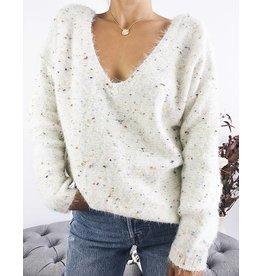Pull en tricot à col en V avec détail confettis