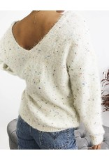 V-Neck Knit Sweater with Confetti Detail