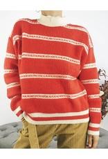 Pull ras du cou en tricot rouge et blanc