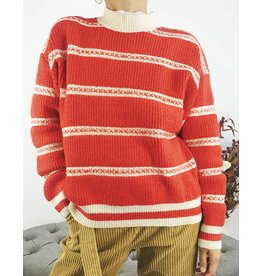 Red & White Knit Crewneck Sweater
