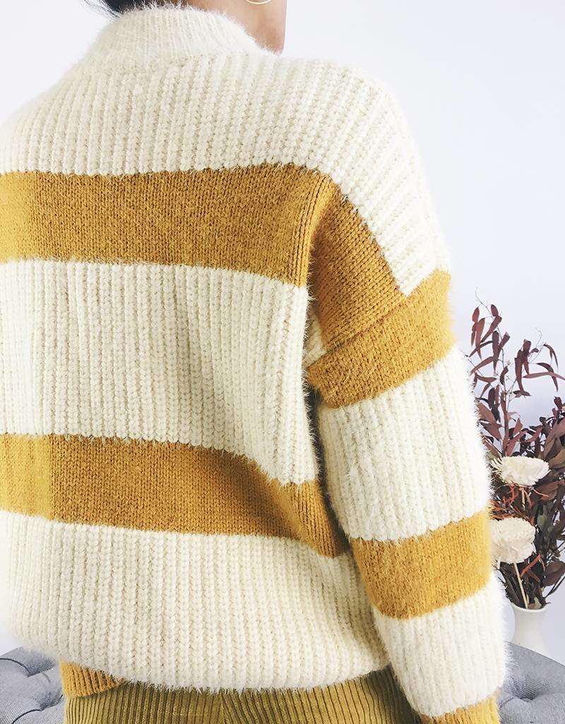 Mixed Knit Striped Turtleneck
