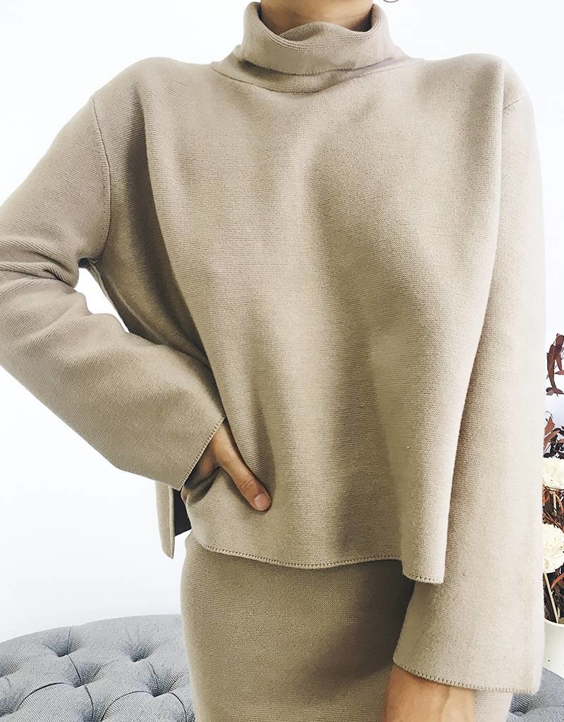 Oversized Knit Turtleneck with Side Slits
