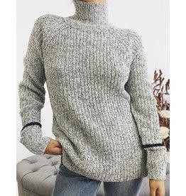 Pull long à col roulé en tricot - Blanc/Noir