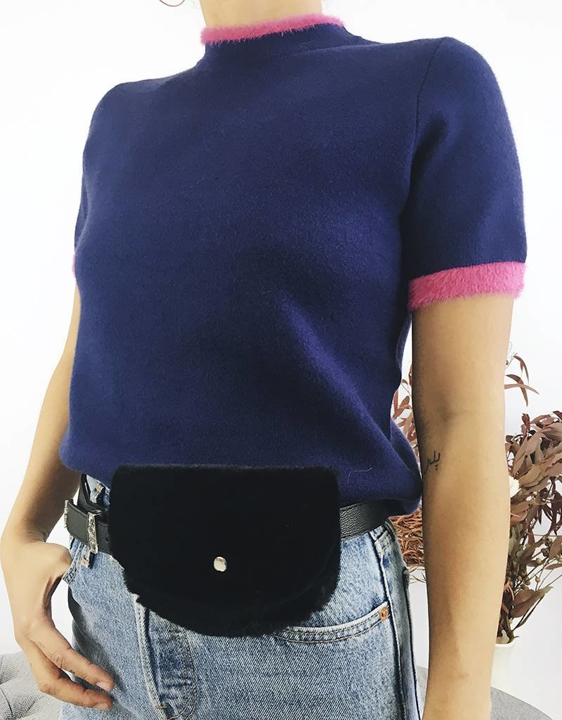 Pull style t-shirt avec ourlet rose