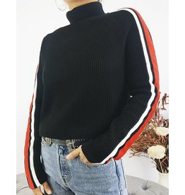 Turtleneck Sweater with Racer Bands on Sleeves