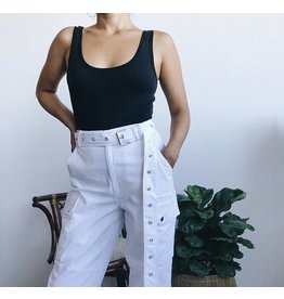 High Waisted Cargo Pants - White