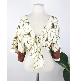 Printed Front Tie Top with Kimono Sleeves