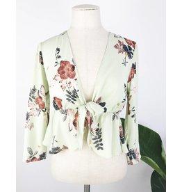 Haut à imprimé floral et noeud