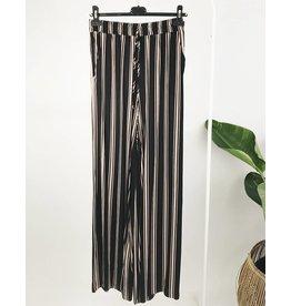 Pantalon rayé à bande élastique à la taille