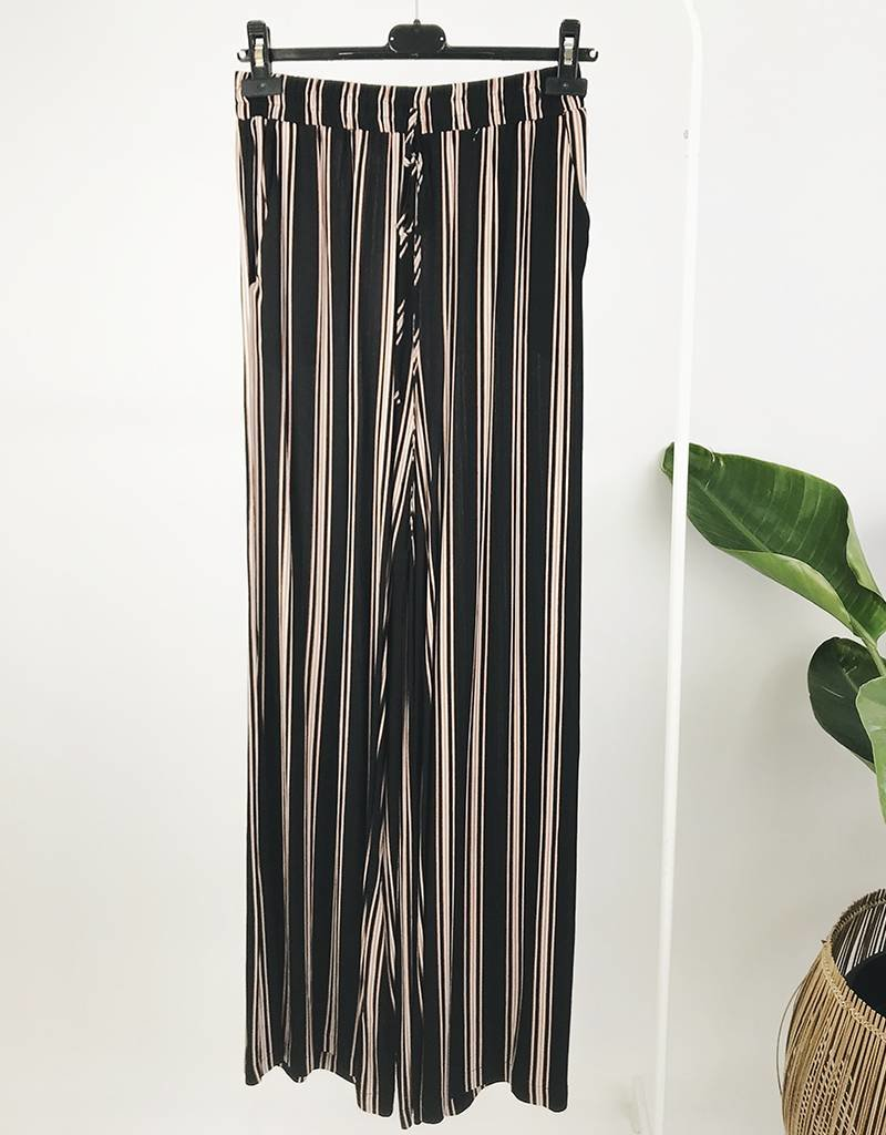 Stripe Pants with Elastic Waist Band