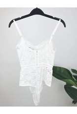 Lace Bodysuit with Elastic Waist Detail - White