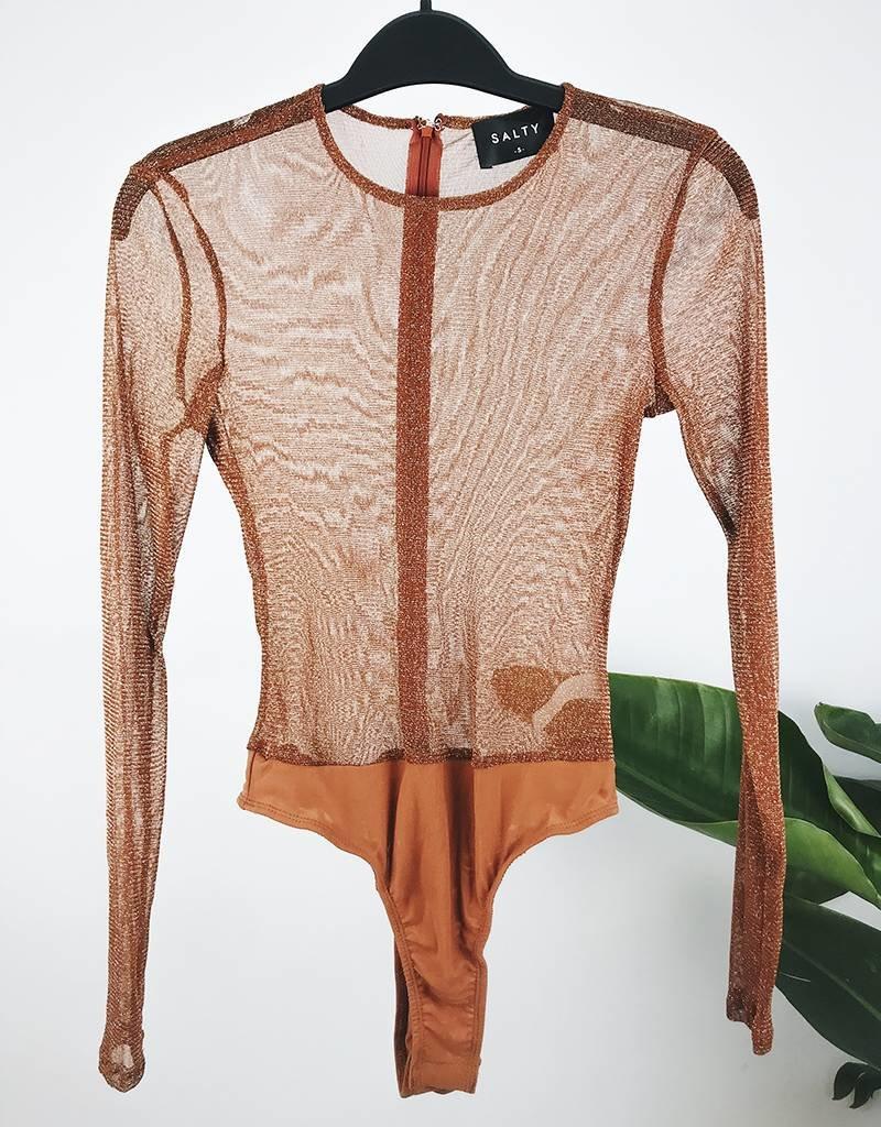 Sparkle Mesh Bodysuit - Rust
