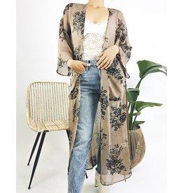 Kimono floral avec ceinture