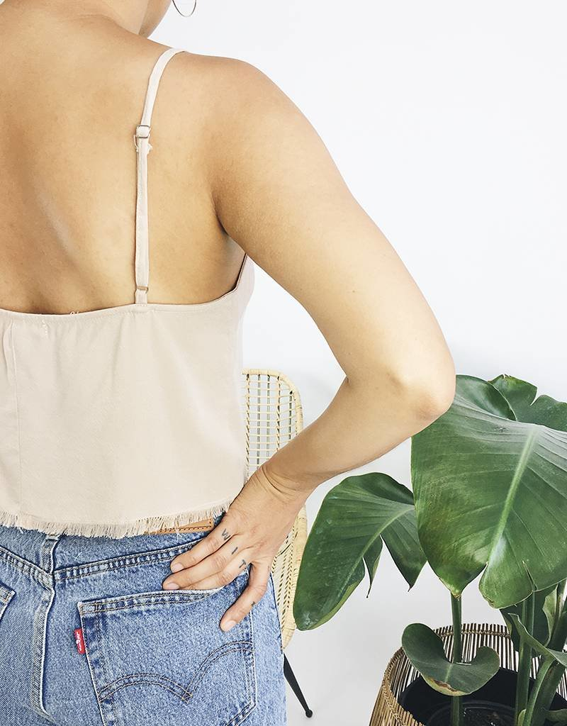 Cropped Tank Top with Raw Hem - Taupe