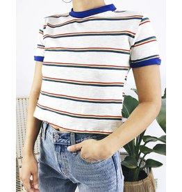 T-shirt rétro à rayures avec bordures bleues