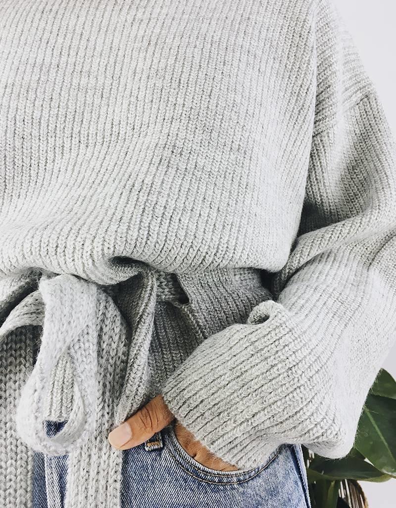 Knit Sweater with Cinched Waist Belt