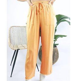 Pantalon léger à ourlet décousu - Orange