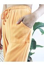 Lightweight Pants with Raw Hem - Orange