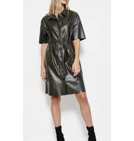Faux-Leather Olive Dress with Belt
