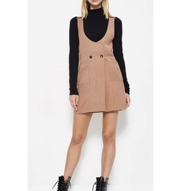 Overall Dress with button detail - Mocha