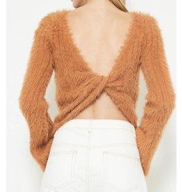 Fuzzy Twist Back Sweater - Caramel
