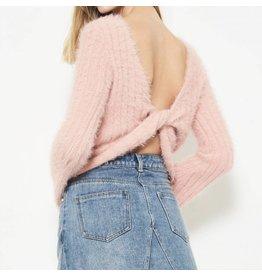 Fuzzy Twist Back Sweater - Pink