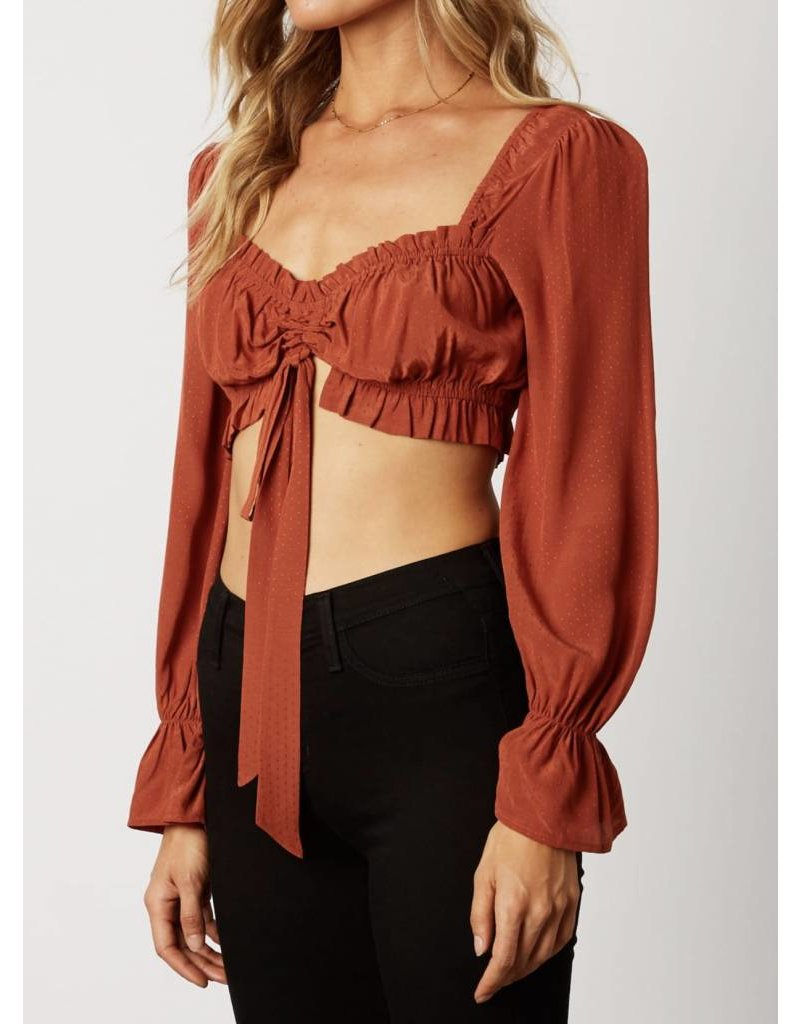Crop Top with Balloon Sleeves - Copper