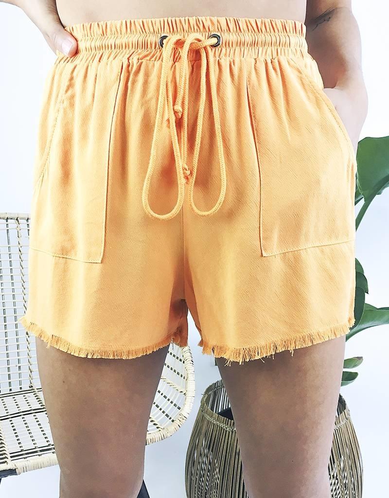 Lightweight Shorts with Raw Hem Detail