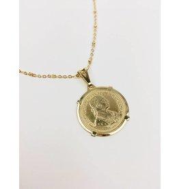 Emperor Large - Collier plaqué or avec pendentif pièce