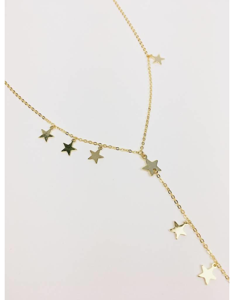 Star Girl - Collier de lariat étoile plaqué or