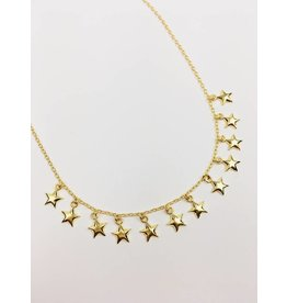 Starry - Collier choker plaqué or avec étoiles