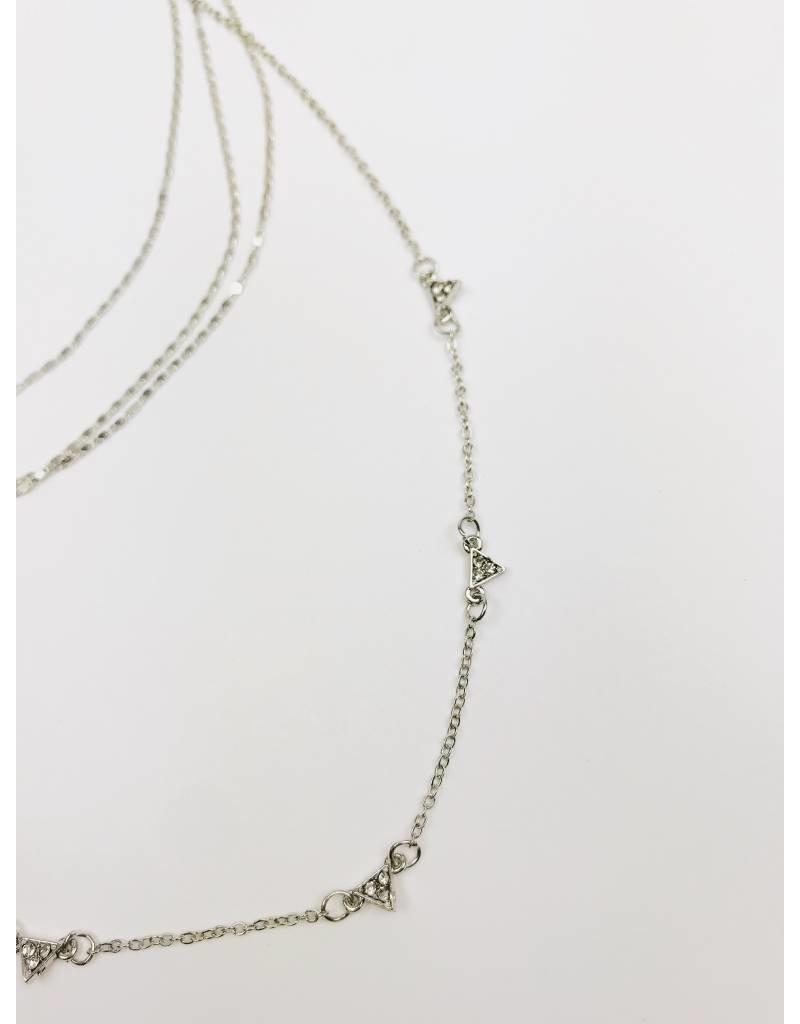 Collier multi-rangs avec detail cristal - Argent