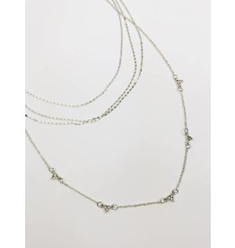 Multirow Necklace with Jewel Detail - Silver