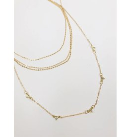 Multirow Necklace with Jewel Detail - Gold