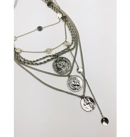 Multirow Coin Statement Necklace - Silver