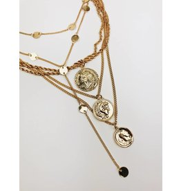 Multirow Coin Statement Necklace - Gold