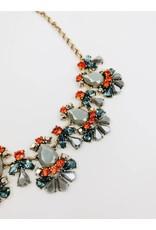 Flare - Collier massif ornés de pierres - Orange / Gris