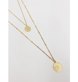 Multirow Necklace with Circle Pendant - Gold