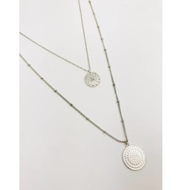 Multirow Necklace with Circle Pendant - Silver