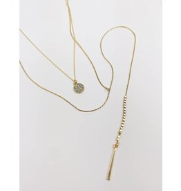 Multirow Lariat Necklace with Circle Pendant - Gold